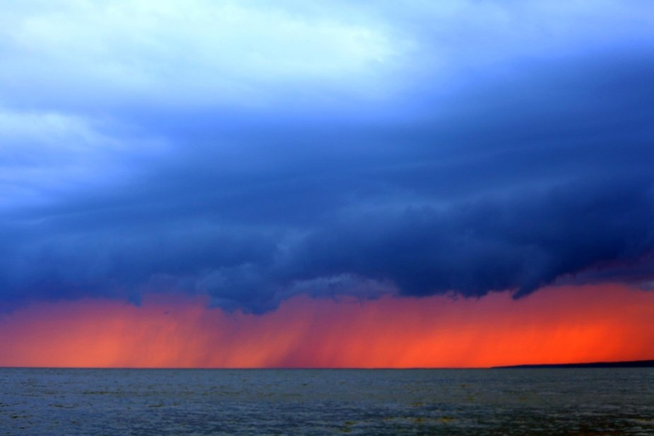 Stormy Sunset on Lake Winnipeg, Manitoba Canada taken from Blueberry Point
