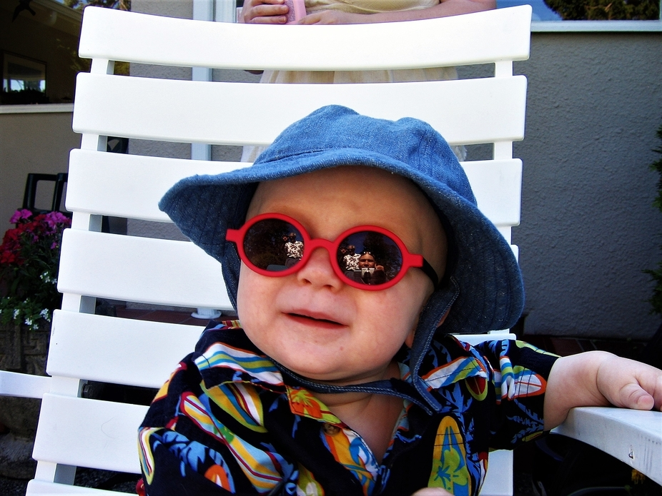 My son chilling out at a family BBQ