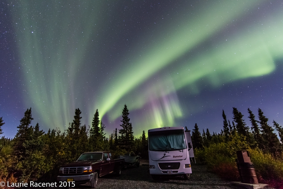 On a camping/boating trip to Lake Louise, Alaska, we were treated to an amazing aurora display ri...