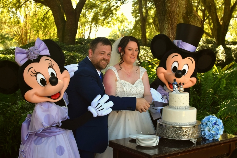 Mickey and Minney special guests at wedding.