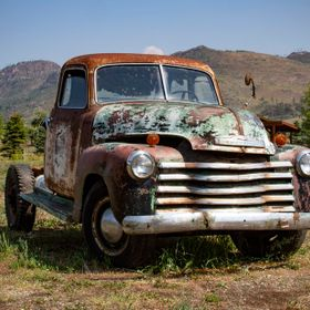 1951 3/4 truck Chevy next to the Highway in British Columbia, Canada