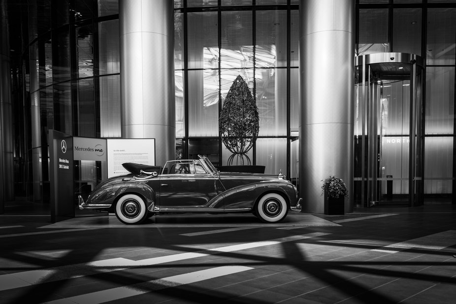 This car once owned by Bing Crosby on display at the Mercedes Me store in Melbourne