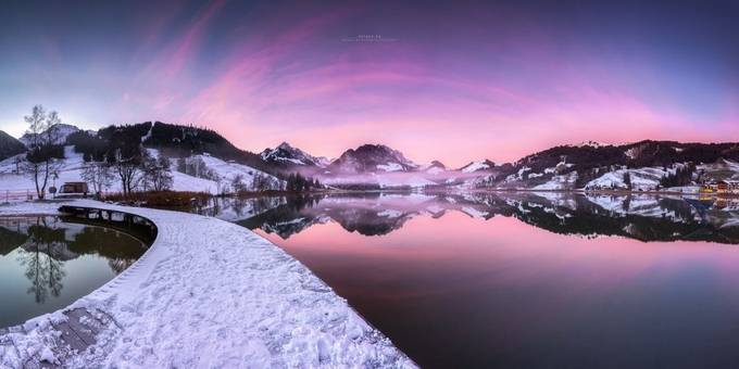 ~ mirrored winter Wonderland ~  Granted, it looks very cheesy. But I can not change it. It was an experience you can not meet every day. Getting up early before work was definitely worth it ... Panorama of 14 pictures stacked .. by patricebechtiger - We Love The Winter Photo Contest