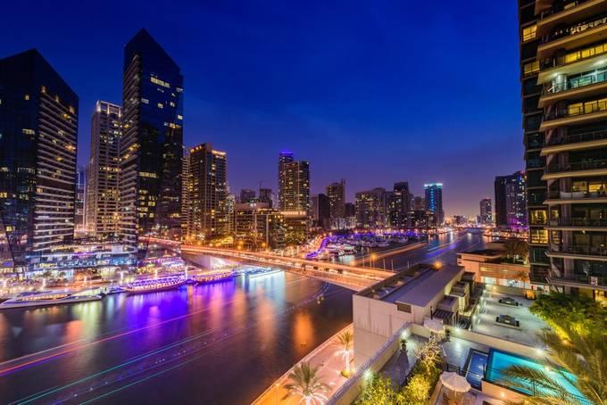 Dubai Marina Blue Hour by SnappyKiwi - Bright City Lights Photo Contest
