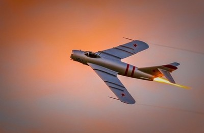 Mig 17 Sunset Takeoff with Afterburner