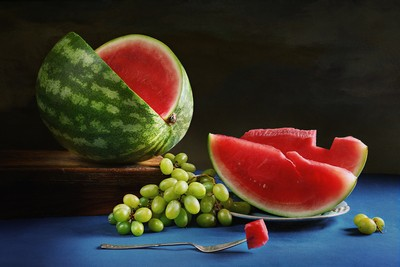 Watermelon with Grapes