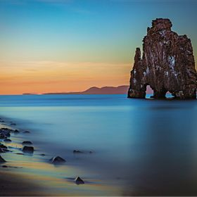 Two minute exposure in Iceland's midnight summer sunset in the Hvitsekur in the north fjord.