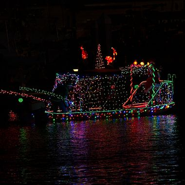 One of many decorated boats in the Port Aransas Christmas boat parade.