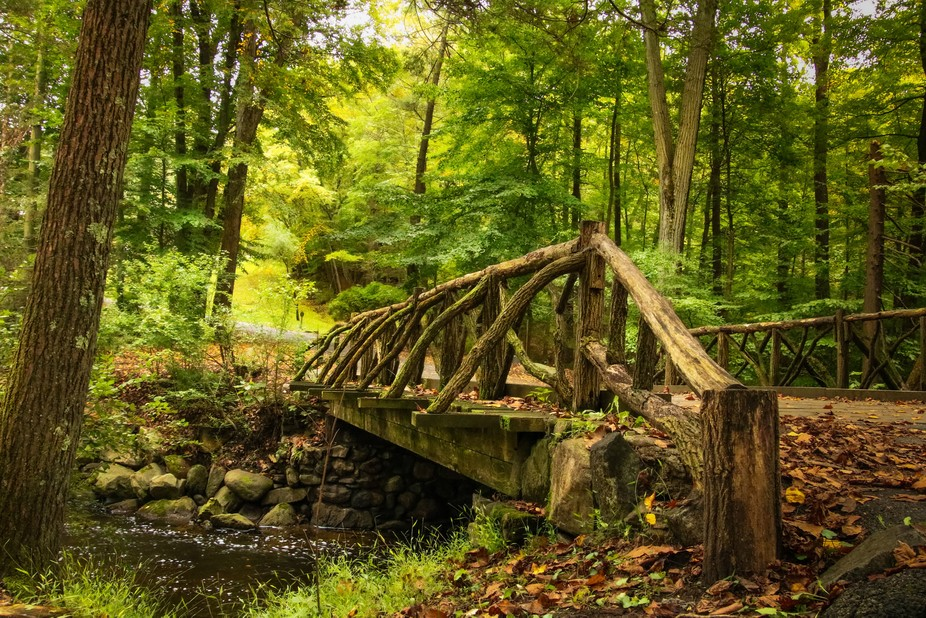 The Headless Horseman Bridge is situated in the Sleepy Hollow Cemetery and crosses the Poncantico...