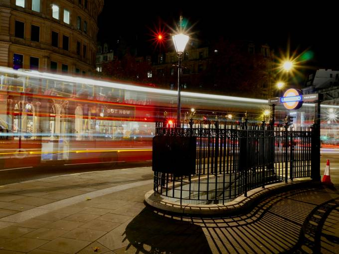 A first effort at light trails captured during an hour session at London's Trafalgar Square.