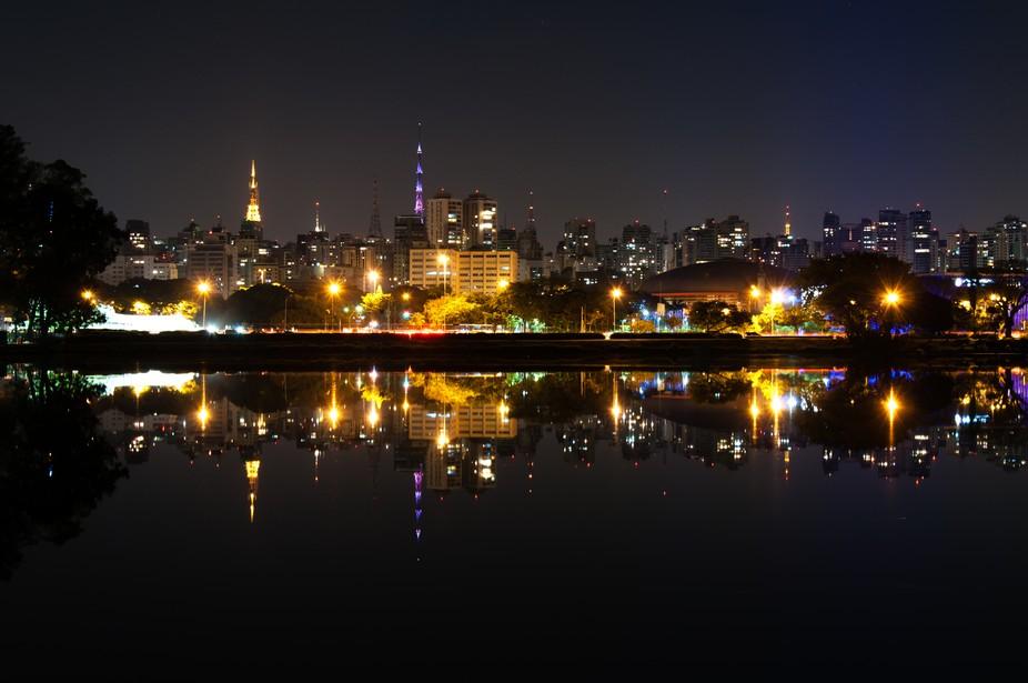 Night view of the city sao paulo, Ibirapuera Park