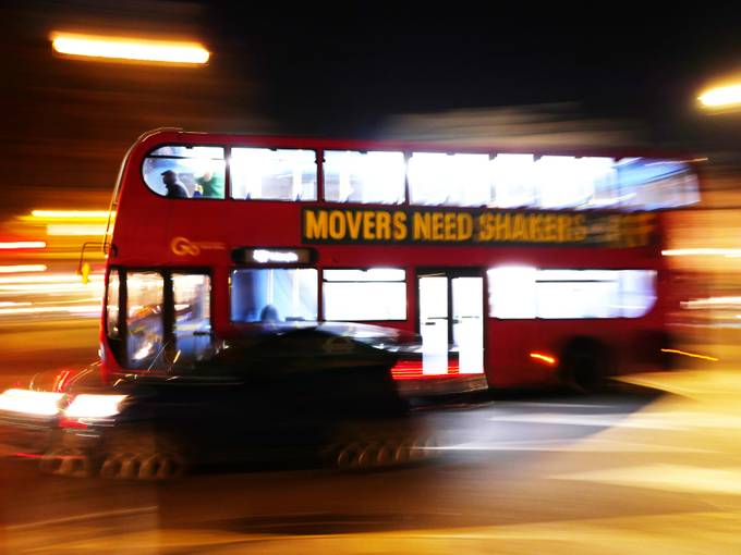 Movers need Shakers ad campaign on a London bus at Trafalgar Square. Sunday night 18th November.