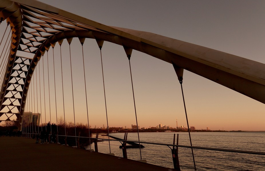 Toronto Skyline and the Humber Bay Arch Bridge
