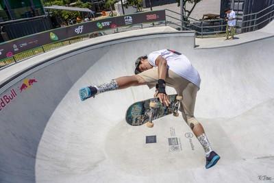 Skateboarding flip at the superpark