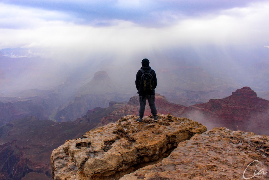 Grand Canyon in November. It was raining and snowing.