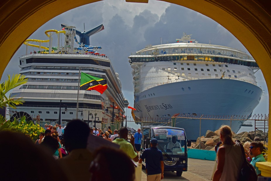 Carnival Sunshine and Harmony of the Seas docked in Basseterre St Kitts.