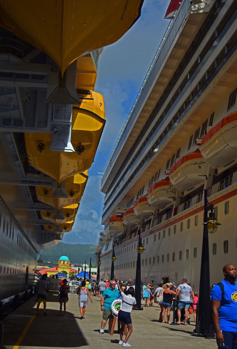 View along the quayside at Basseterre St Kitts, Harmony of the Seas and Carnival Sunshine.