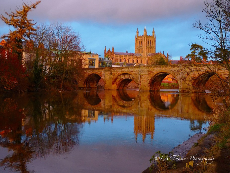 Hereford Cathedral river reflection