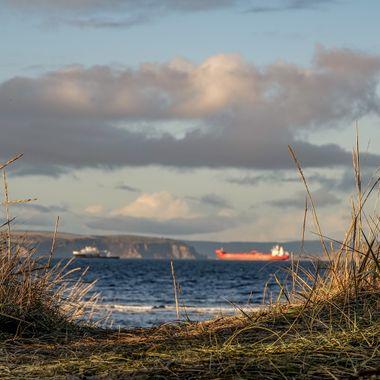 Lookin thru the gress — at Nairn West Beach.