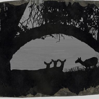 A black and white silhouette of four female deer by Lake Travis, Texas