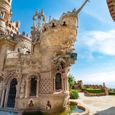 a close up of a beautiful castle tower in the shape of a ship bow in Benalmadena, Spain