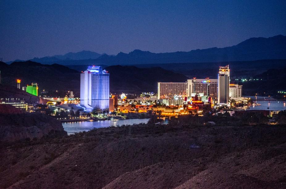 Night shot of Laughlin Casinos from Bullhead City