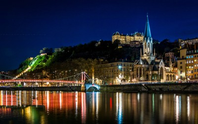 Hill of St-Just and St-georges church at Lyon by night