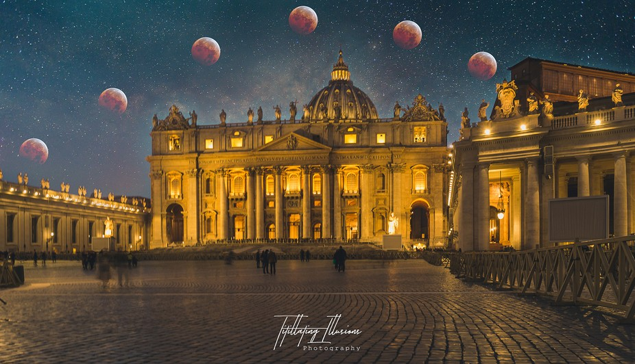Blood Moon at St Peter's Basilica