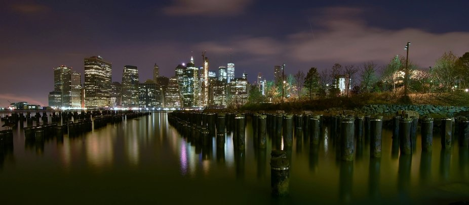 Taken at old pier 1, Brooklyn Bridge Park Greenway, night time long exposure