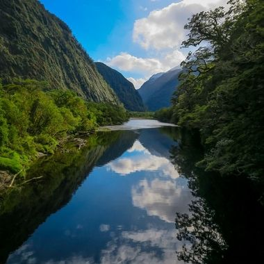 Trekking the last day of the Milford Track, New Zealand. (Finally a dry day!!)