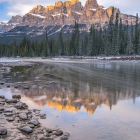 This is a shot of Castle Mountain in Banff National Park in Albert, Canada at sunset.