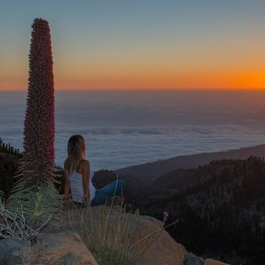Watching the sunset over a sea of clouds