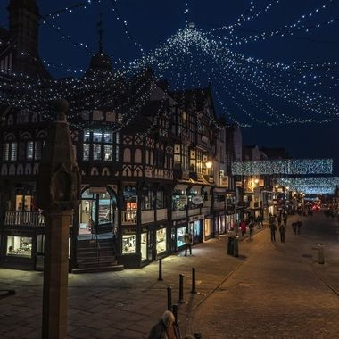 Christmas Holiday lights on in Bridge Street, Chester