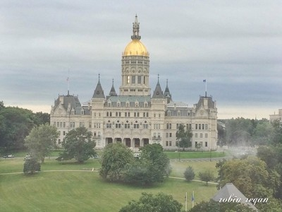 Connecticut State Capitol in Hartford on an early summer morning.