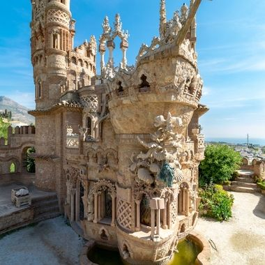 beautiful castle ruins in Benalmadena, Spain with towers and balcony's with a nautical theme