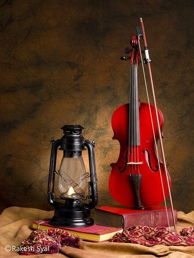 STILL LIFE WITH VIOLIN AND OIL LAMP