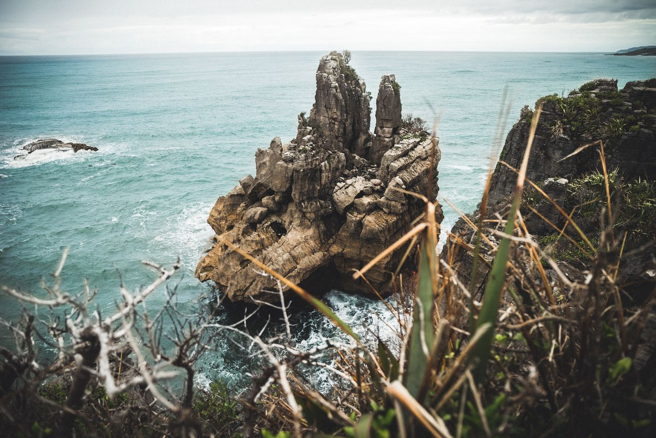 One strange rock on the Punakaiki coast.