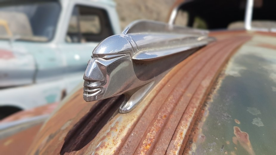 Close-up of a Pontiac Silver Streak hood ornament. Caught with my smartphone.