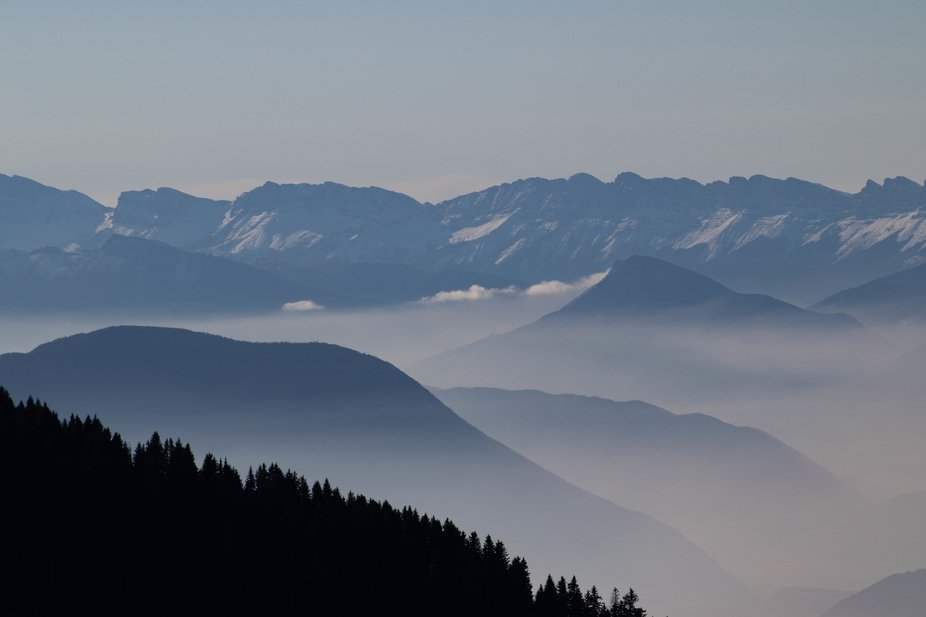 Taken from Prapoutel in the French Alps looking West winter 2018