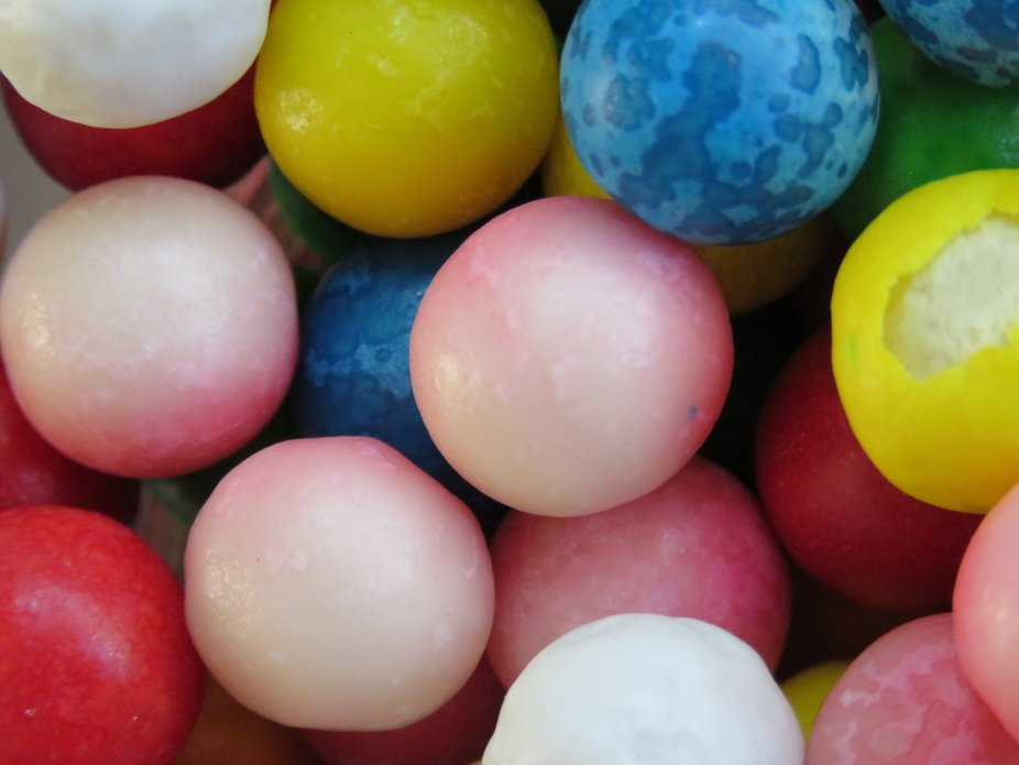 A macro shot of gumballs.