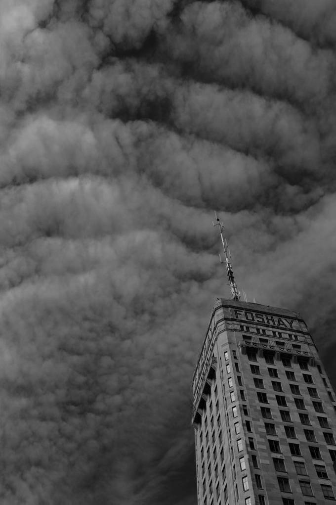 The Foshay Tower, with ominous clouds overhead