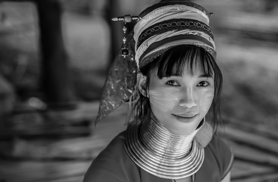 Taken in the Long Neck tribal village, Chiang Rai, Thailand.  The hoops are actually 1 continuous...