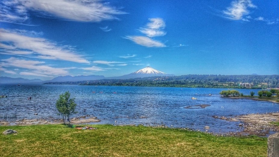 This photo was taken in lakes zone in Chile near of Villarica city,  the volcano is very active p...