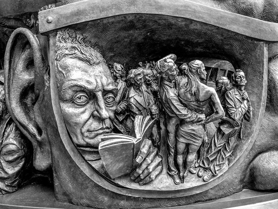 Detail from statue at St Pancras station, London