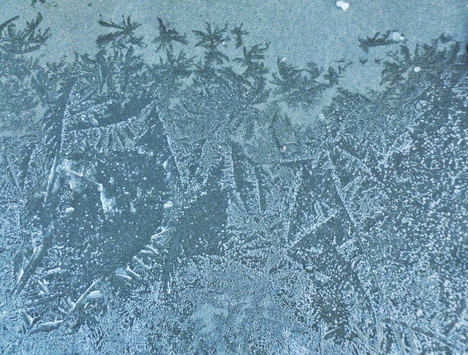 FROST that formed on the concrete surface creates a  fascinating pattern that looks like some kin...