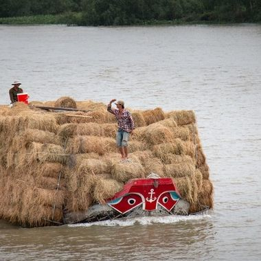 How to get as much hay on a boat...