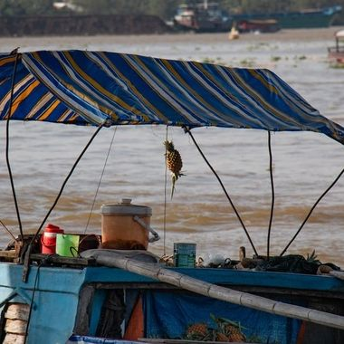 Rear deck of a boat in a floating market, Mekong river