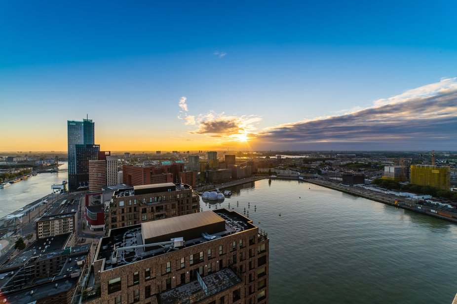 View on the Rotterdam city during sunrise.