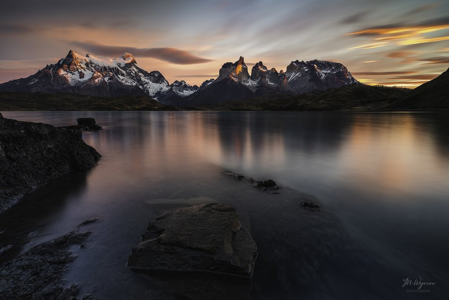 A calm morning at Torres del Paine, Chile.