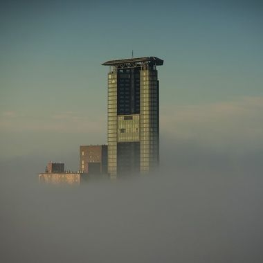 The Hague Tower above the fog. It happens only one or twice per year so I was very lucky to be at home that day